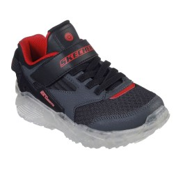 Skechers Arctic-Tron-Zollow Touch Fastening Strap Boys Grey Lighted Trainer