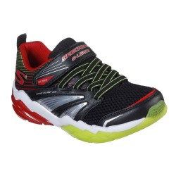 Skechers Rapid Flash 2.0 Boys Black Red Yellow Lighted Trainer with Hidden Light