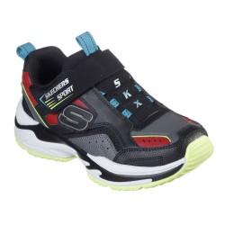 Skechers Durolux Lightweight Touch Fastening Strap Kids Trainer Black Gray Red