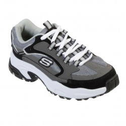 Skechers Stamina-Cutback Kids Lace Up Trainer Durable Rubber Outsole Grey Black