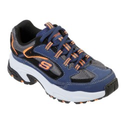 Skechers Stamina-Cutback Boys Lace Up Trainer Durable Rubber Outsole Navy Black