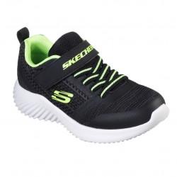 Skechers Bounder-Zallow Lightweight Boys Black Blue Lime Trainer