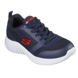Skechers Bounder Lightweight Boys Lace Up Trainer Navy Black Red
