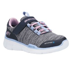 Skechers Equalizer 3.0-Mbrace Girls Blue Pink Trainer with Waterproof Upper
