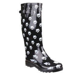 Cotswold Dog Paw Kids Wellington Boot Black White