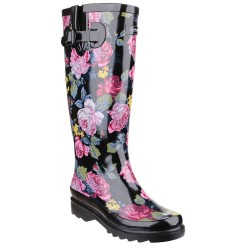 Cotswold Rosefest Womens Wellington Boot Black Pink