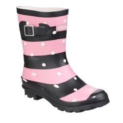 Cotswold Badminton Womens Pink Stripe Wellington Boot