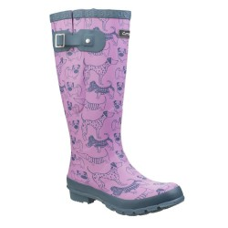 Cotswold Windsor Womens Dog Print Purple Wellington Boot