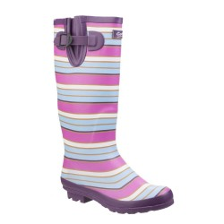 Cotswold Wadeberry Womens Pink Berry Stripe Wellington Boot
