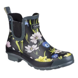 Cotswold Bownham Womens Short Black Floral Wellington Boot