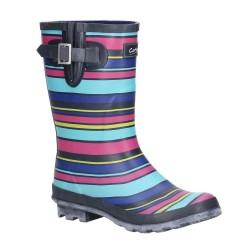 Cotswold Paxford Womens Elasticated Mid Calf Wellington Boot Stripe
