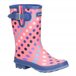 Cotswold Paxford Womens Elasticated Mid Calf Wellington Boot Pink Multi Spot