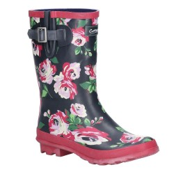 Cotswold Paxford Elasticated Mid Calf Womens Black Flower Wellington Boot