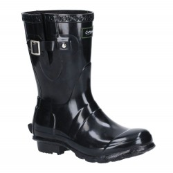Cotswold Windsor Womens Gloss Black Short Wellington Boot