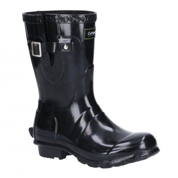 Cotswold Windsor Womens Gloss Black Short Wellington Boot