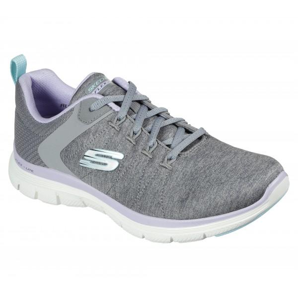 Skechers Flex Appeal Brilliant Womens Grey/Lavender Trainer
