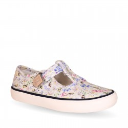 Start Rite Summer Girls Cream Floral Canvas Shoe