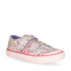 Start Rite Meadow Girls Cream Floral Canvas Shoe