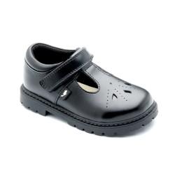 Chipmunks Abigail Girls Black T-Bar School Shoe