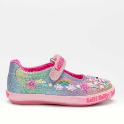Lelli Kelly Treasure Girls Multi Glitter Canvas Shoe
