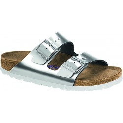 Birkenstock Arizona Womens Metallic Silver Sandal