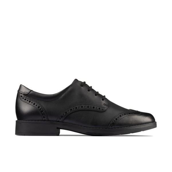 Clarks Aubrie Craft Girls Black Brogue School Shoe