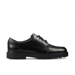 Clarks Loxham Pace Boys Black School Shoe