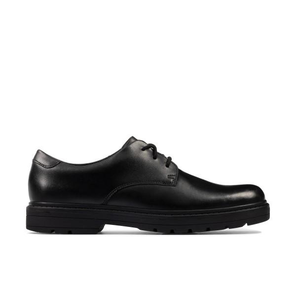 Clarks Loxham Derby Boys Black School Shoe