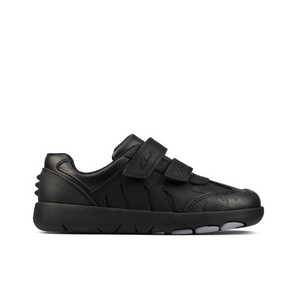 Clarks Rex Stride Kid Boys Black School Shoe