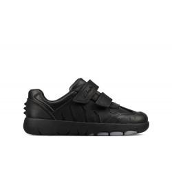 Clarks Rex Stride Boys Black School Shoe