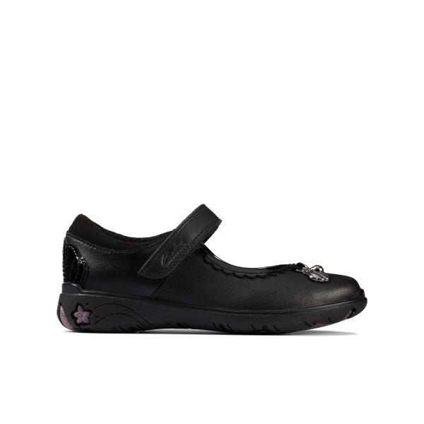 Clarks Sea Shimmer Girls Black School Shoe