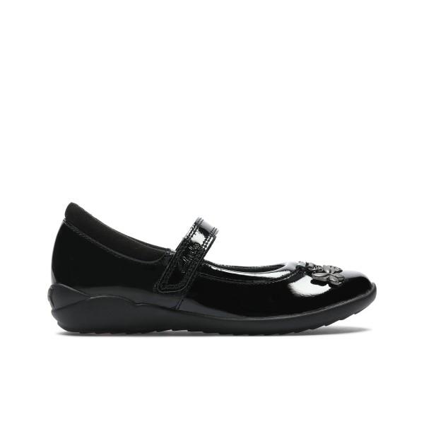 Clarks Vibrant Trail Girls Black Patent School Shoe