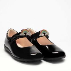Lelli Kelly Brite 2 Rainbow Girls Black Patent School Shoe G Width
