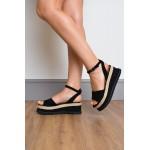 Flatform Peep Toe Espadrille Womens Black Sandal