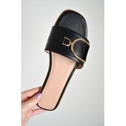 Buckle Slider Womens Black Sandal