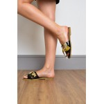Scarf Bow Slider Womens Black Sandal