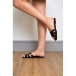 Link Strap Slider Womens Black Sandal