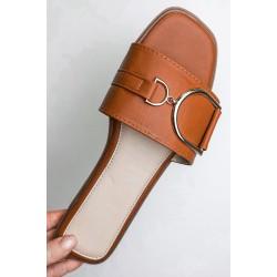 Buckle Slider Womens Tan Sandal