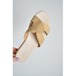 Raffia Slider Womens Beige Sandal