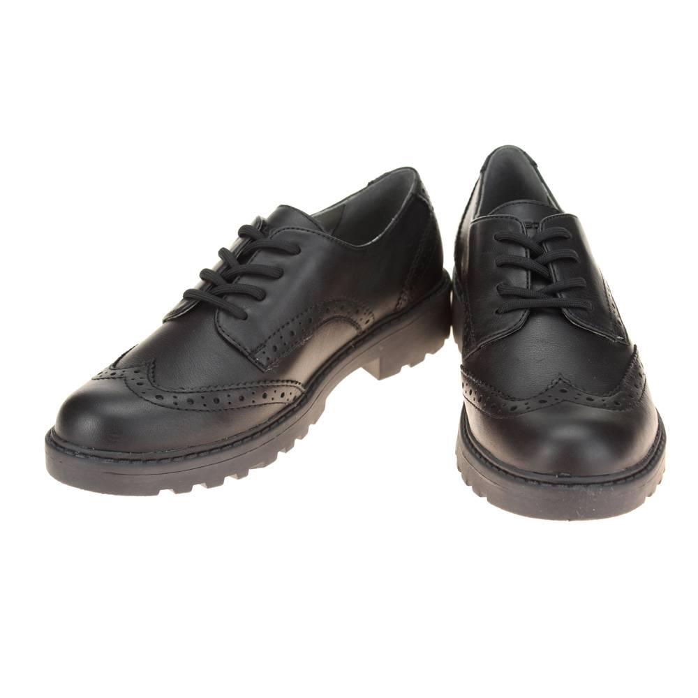 SALE Geox Agata Black Patent Lace Up Brogue Girls Full School Shoes 40 UK 6.5