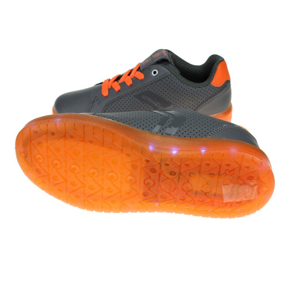 Dettagli su Geox kommodor Ragazzi Grigio Scuro Arancione Ricaricabile Luci Scarpa mostra il titolo originale