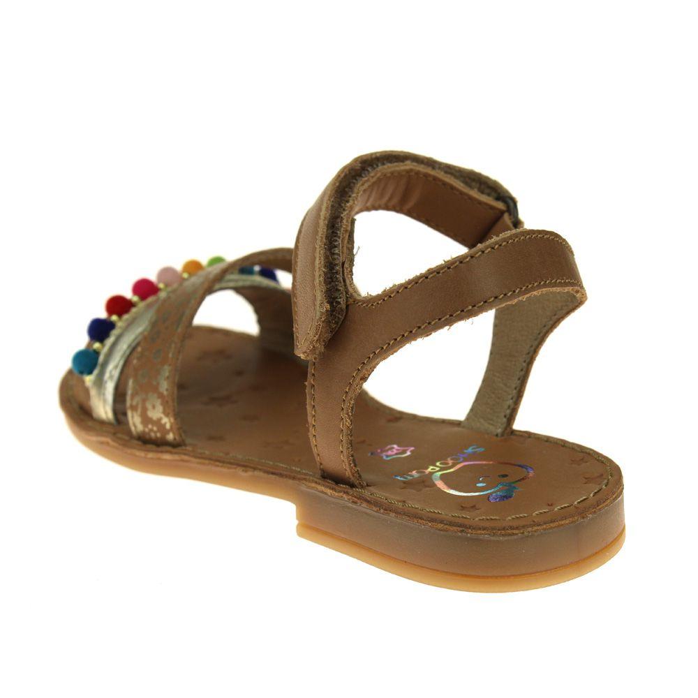 24ef839b2c4 Shoo Pom Happy Pompon Girls Camel Multi Sandal   eBay