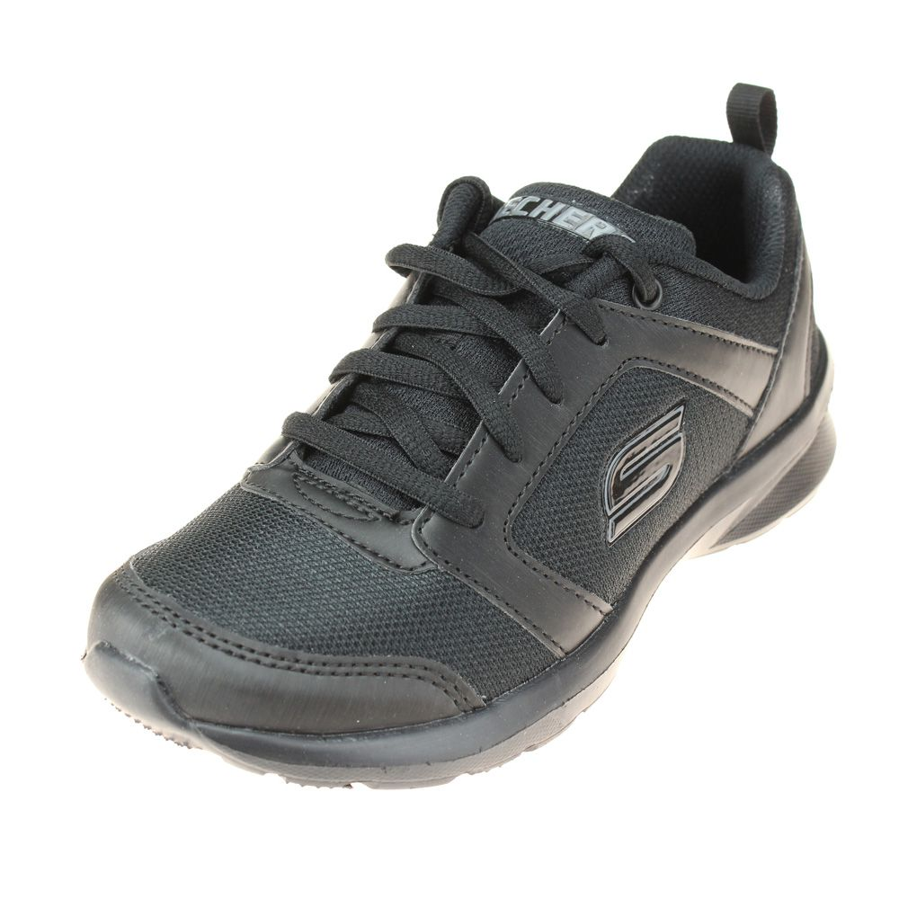 Skechers Skech-Stepz Speed Dial Boys Black School Shoe-Trainer