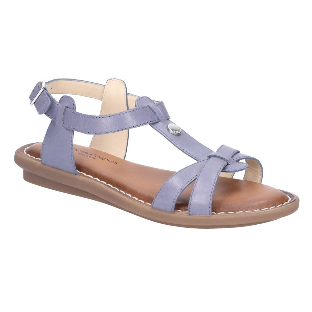 Details about Hush Puppies Olive Blue Tstrap Buckle Strap Sandal size uk ladies buckle leather
